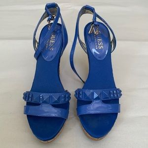 Guess blue studded wedges size 5